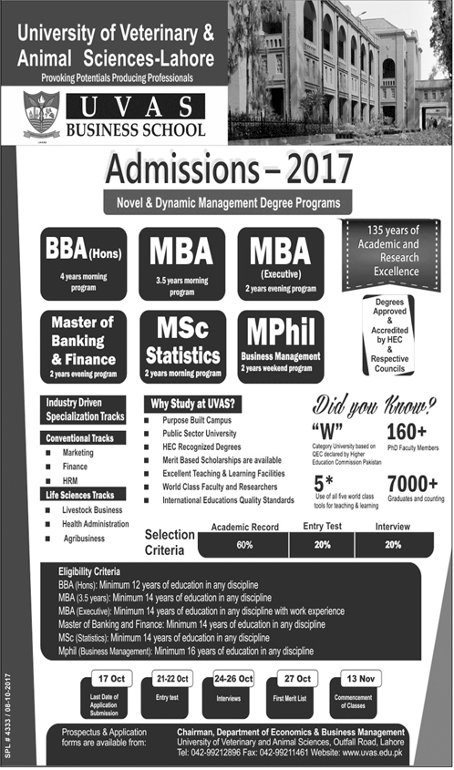Admissions Open in University of Veterinary and Animal Sciences UVAS - 2017