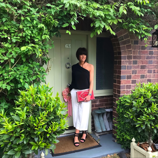 My Midlife Fashion, marks and spencer aztec shoulder bag, marks and spencer cropped culottes, marks and spencer one shoulder frill neck long sleeve blouse, baukjen sol sana porter heels