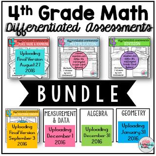4th grade common core leveled assessments bundle test prep bundle math workshop