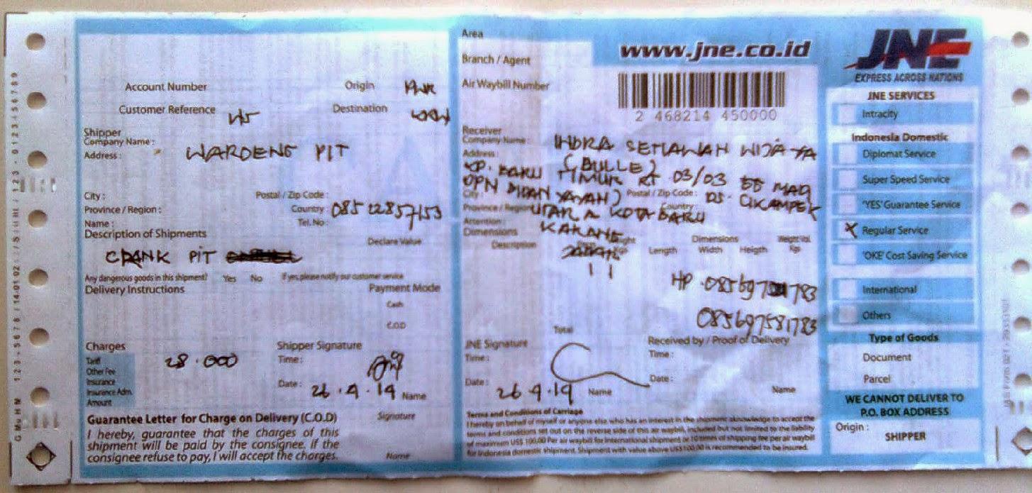No Resi Jne Pengiriman paket ke karawang atn Indra wiaya yg membuktikan waroengpit terpercaya sebagai toko sepeda gunung online waroengpit