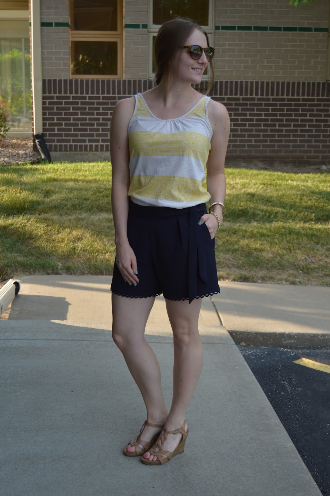 preppy outfits for summer | summer look book | summer outfit ideas | what to wear this summer | shorts with wedges | date night looks with shorts | navy shorts | a memory of us | kansas city fashion blog | yellow striped tank top |