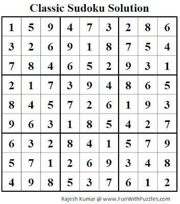 Classic Sudoku (Fun With Sudoku #47) Solution