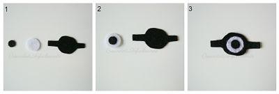 cosemos las 3 piezas del ojo del Minion disfrazado de Momia en Fieltro
