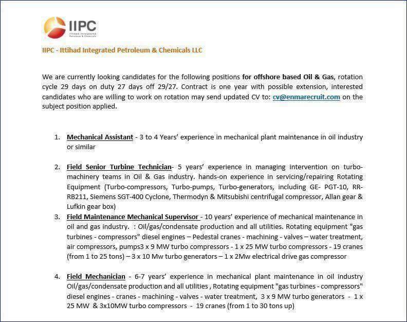 Oil and gas job vacancies: OFFSHORE ROTATION 29/27 VACANCIES
