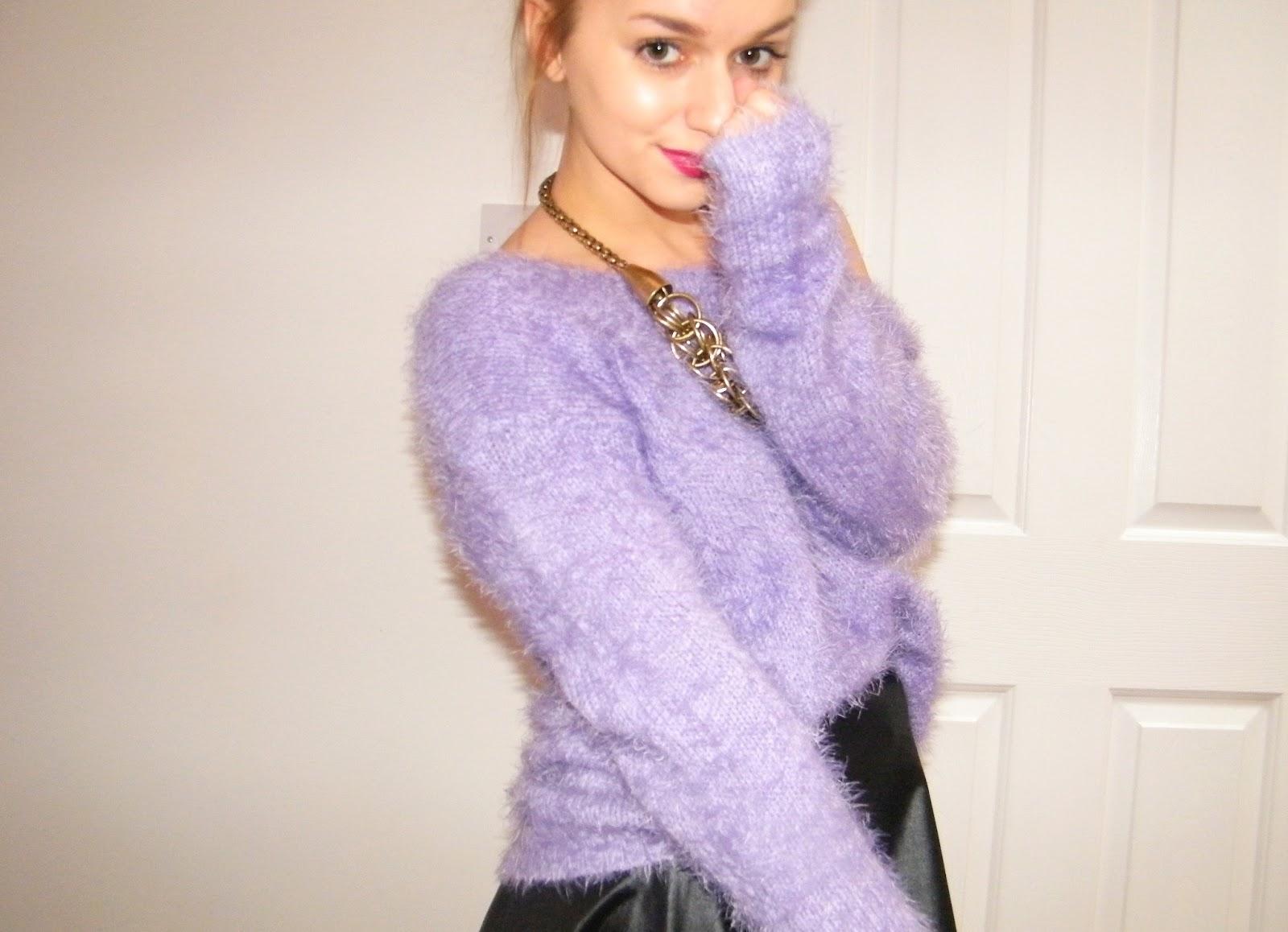 SheInside Purple Fluffy Jumper