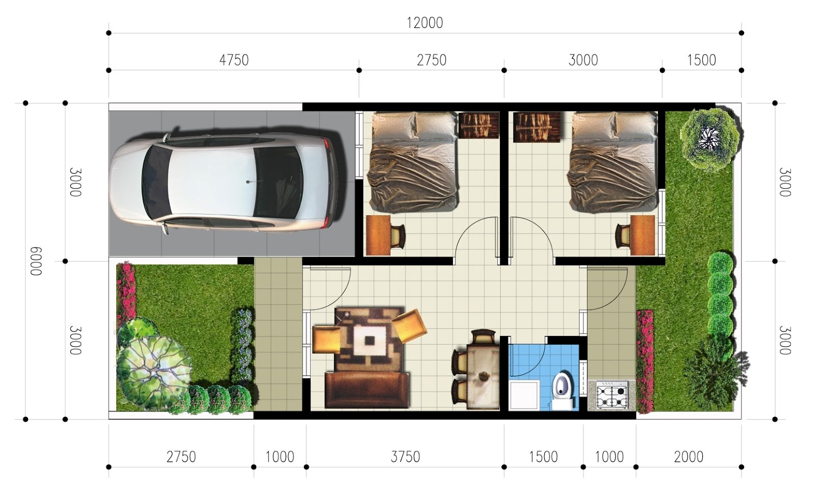 Gambar Denah Rumah Type 21 Rumah Minimalis