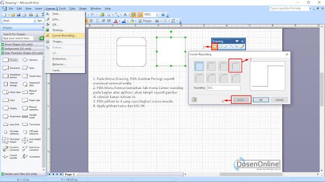 Cara mudah membuat proses DFD dengan Visio