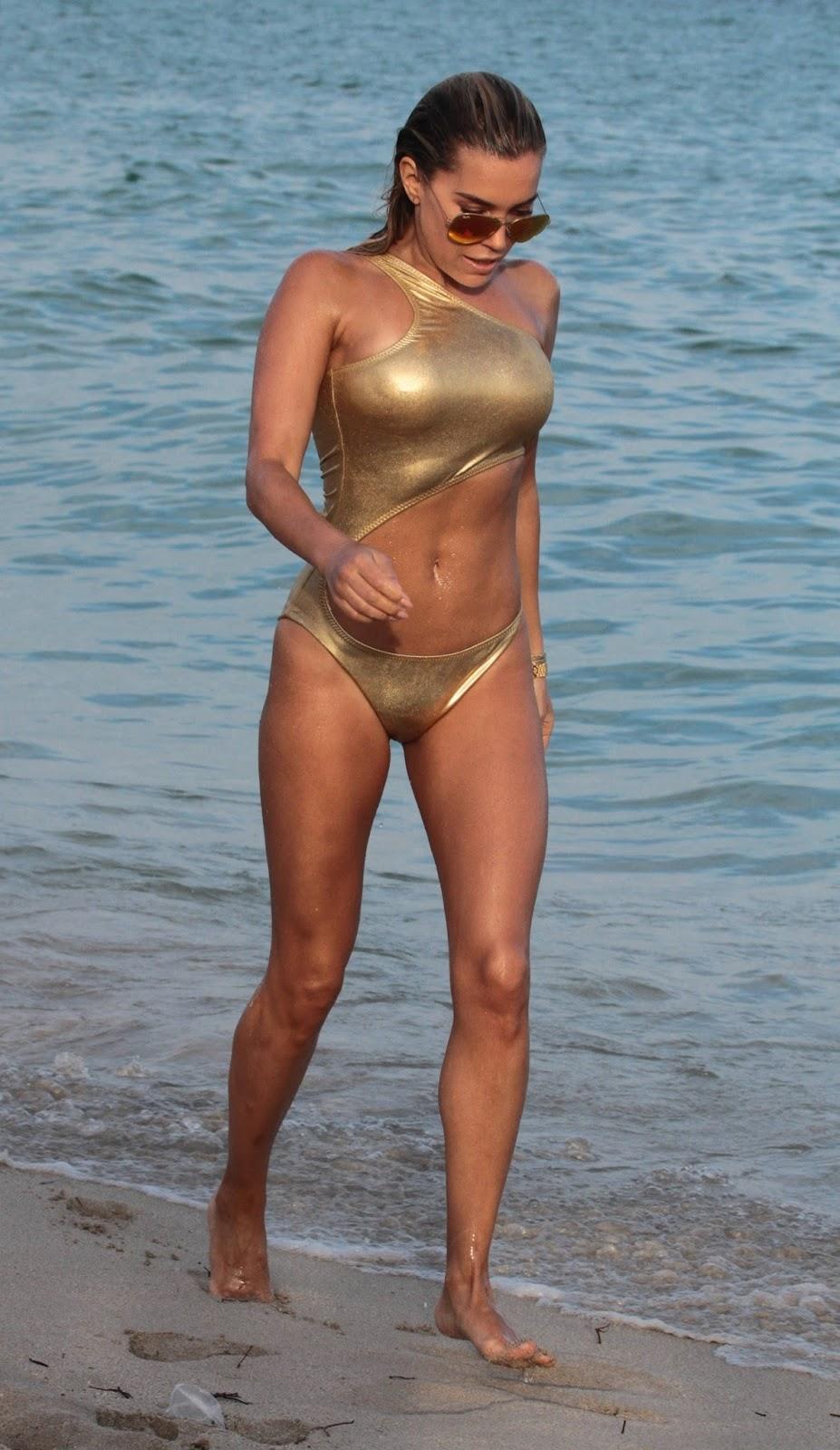 Sylvie Meis in Gold Bikini 2018