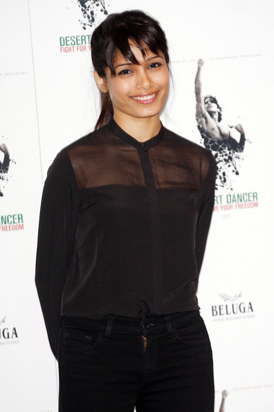Actress Freida Pinto at the Desert Dancer photo call