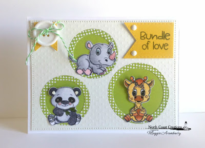 North Coast Creations Stamps & Dies: Bundle of Love, ODBD Paper Collection: Birthday Brights, ODBD Custom Dies: Double Stitched Pennant Flags, Pierced Circles