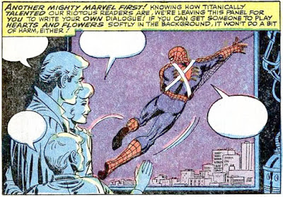 Amazing Spider-Man #45, John Romita, Spider-Man swings out of a window, as Curt Connors and family watch on, blank dialogue boxes