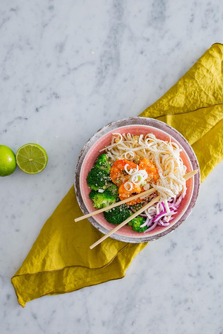 receta-saludable-facil-pad-thai-verduras-langostinos-ketchup-heinz