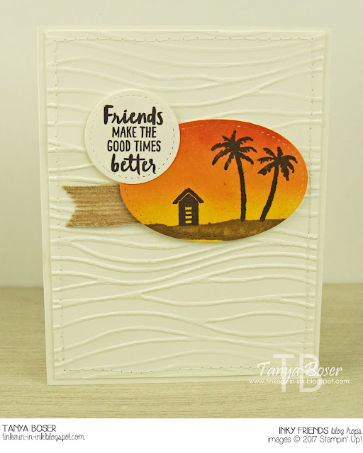 Blending and simple stamping with Stampin' Up! Waterfront stamp set create easy and beautiful scenes. Even beach scenes! ~Tanya Boser for Inky Friends