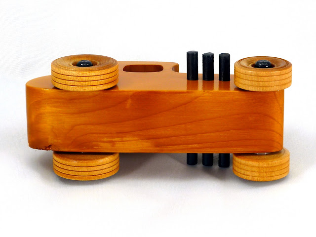 Bottom - Wooden Toy Car - Hot Rod Freaky Ford - 27 T Coupe - Pine - Amber Shellac - Black Hubs