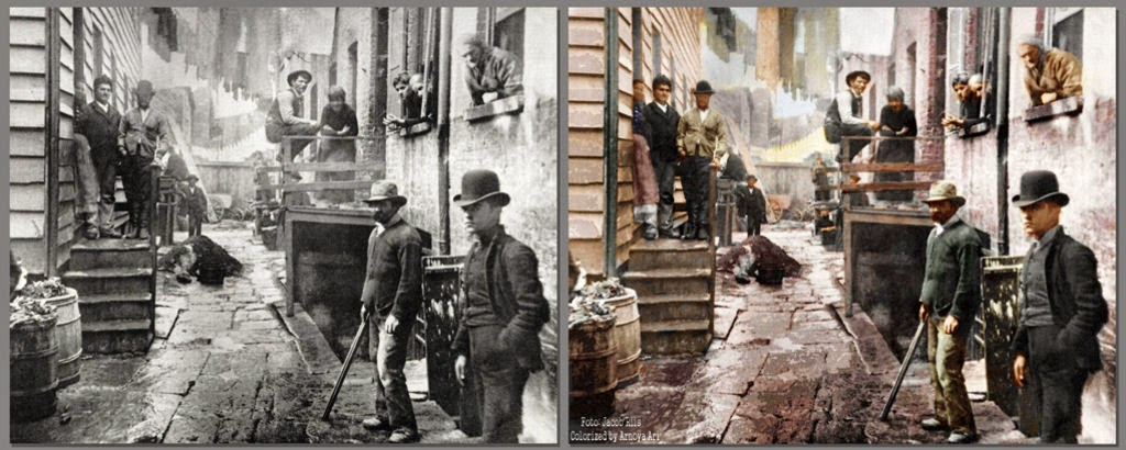 Bandit's Roost, 1890, New York City,color colorization colorized