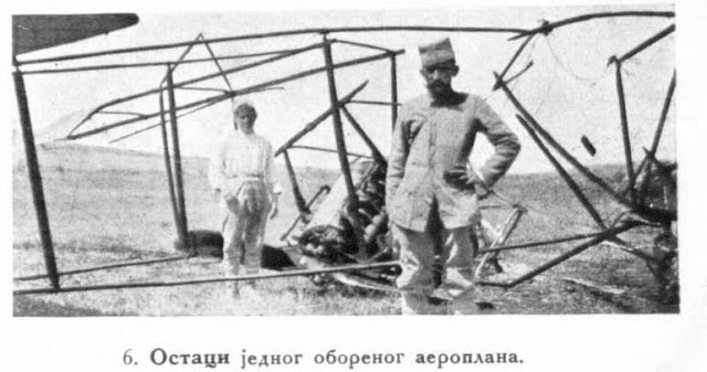 The remains of a fallen aeroplane