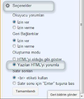 Seçenekler Yazılan HTML'yi Yorumla
