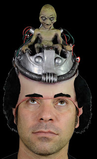 Funny ALIEN PILOT HEADPIECE MASK HAT Flying Saucer Costume Gag