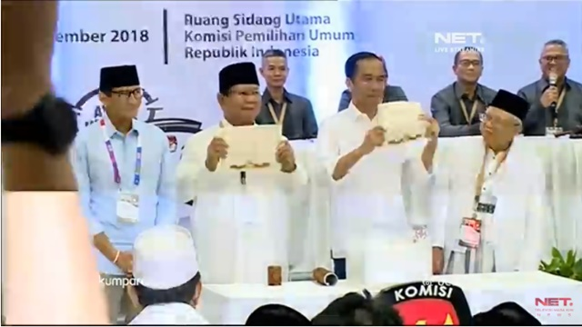 Sah! Jokowi-Ma'ruf Amin Nomor Urut 1, Prabowo-Sandi Nomor Urut 2