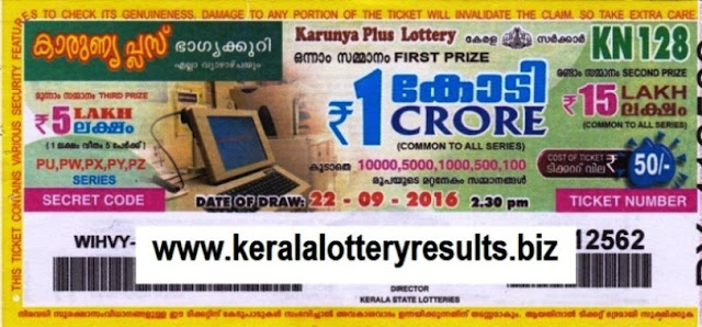 Kerala lottery result official copy of Karunya Plus_KN-128