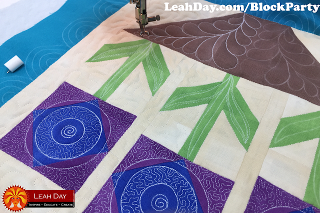 machine quilting | flower quilt block
