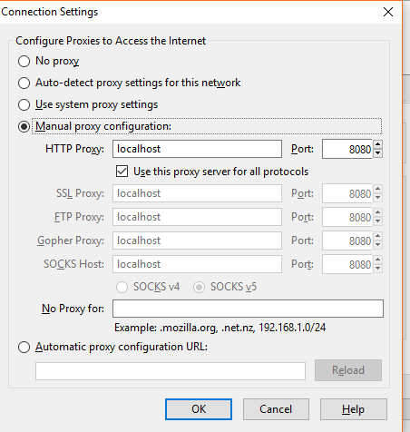 Burp Suite not intercepting localhost ? | weboPhp