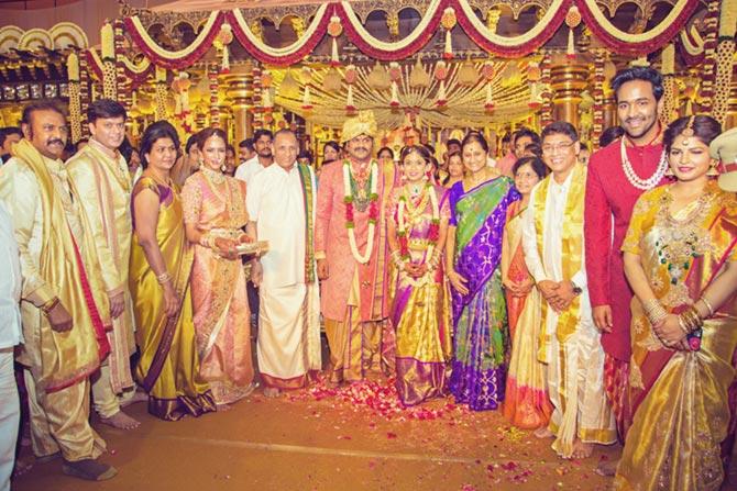C Vidyasagar-Rao, Manoj Manchu and Pranathi Reddy Wedding Pics
