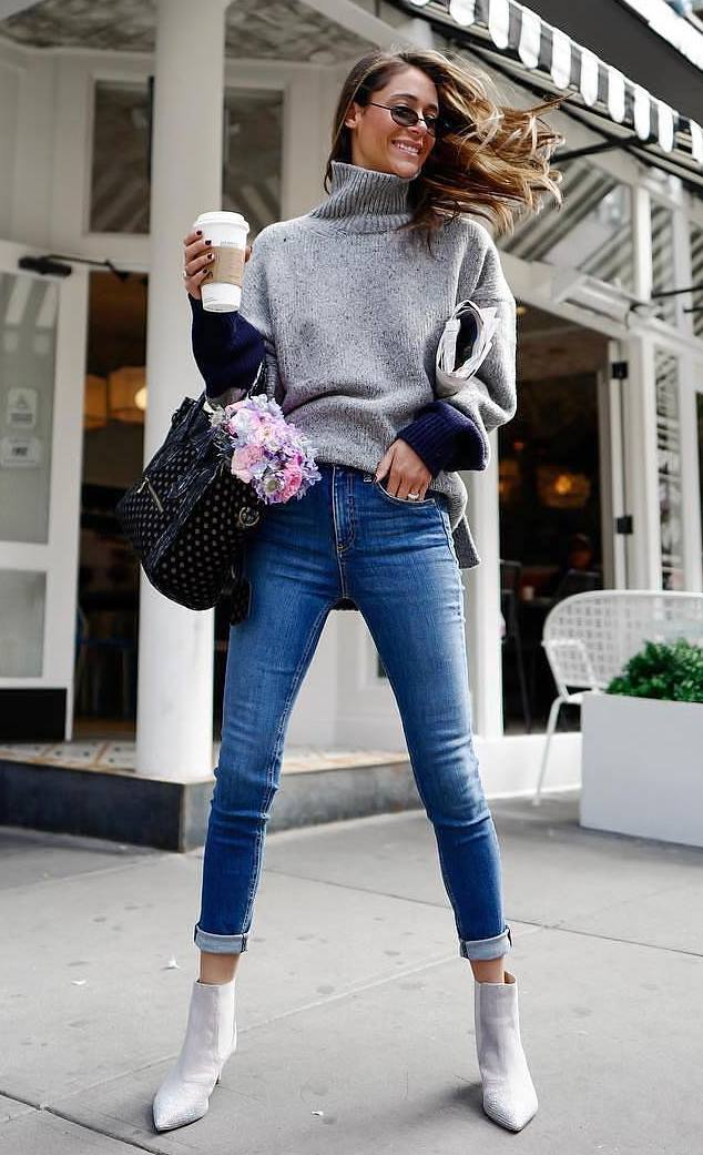simple fall outfit / grey sweater + skinny jeans + bag + boots