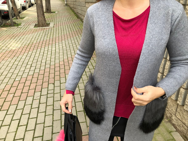 Faux Fur Pockets Open Front Cardigan