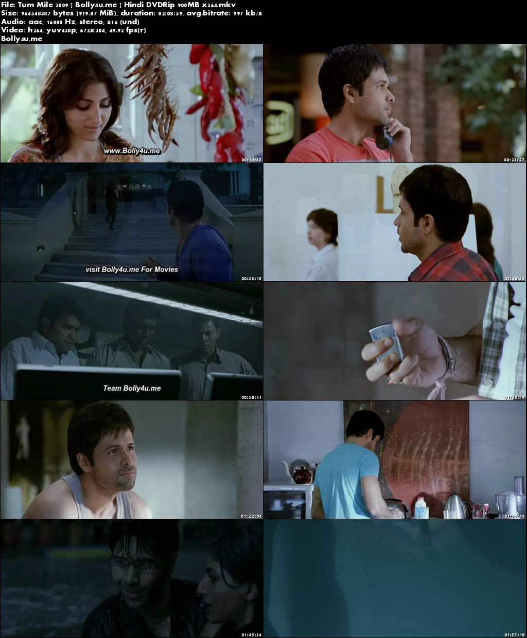 Tum Mile 2009 DVDRip 900Mb Full Hindi Movie Download x264