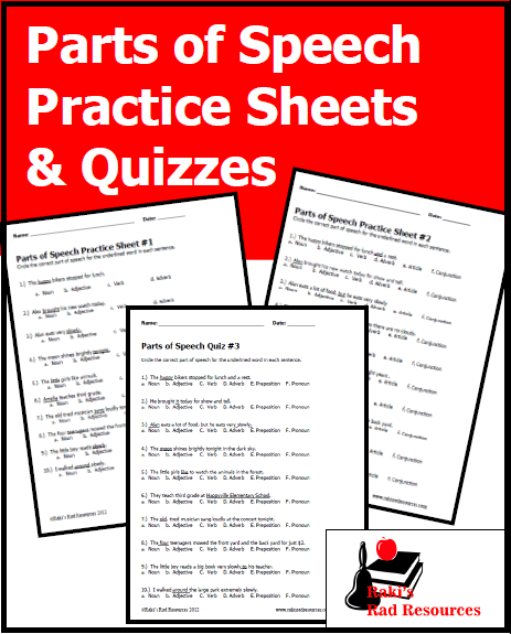 Six free parts of speech practice sheets and quizzes from Raki's Rad Resources. Great assessments or grammar centers for your literacy instruction.