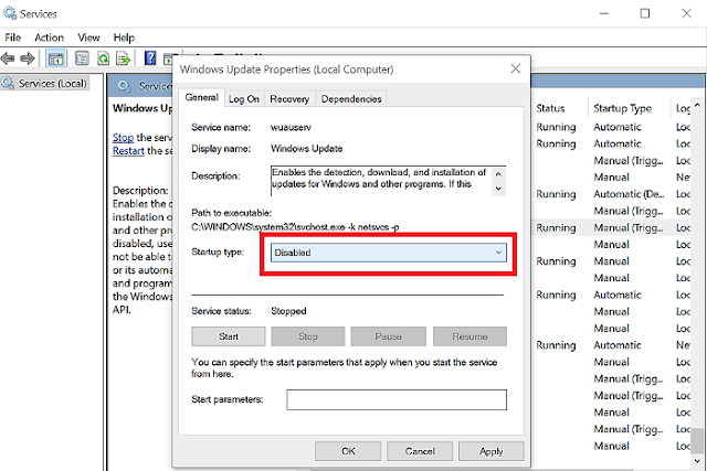 services.msc windows update disable