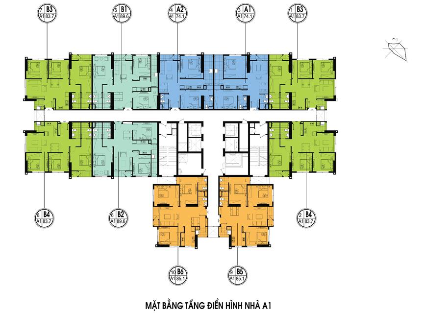 Mặt bằng chi tiết toà A1 tại chung cư An Bình City