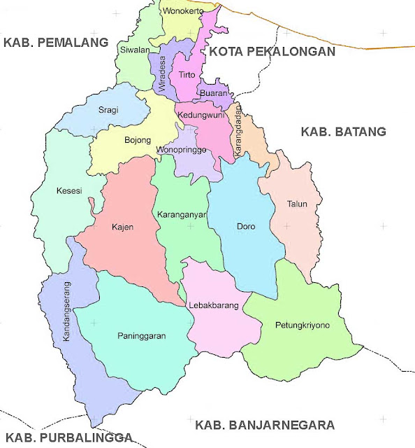 Gambar Peta Administrasi Kabupaten Pekalongan