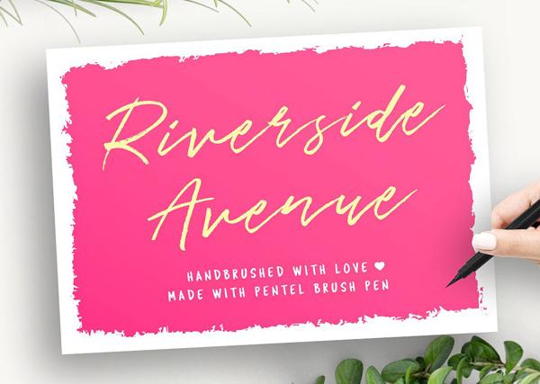 Download Font Terbaru 2018 - Riverside Avenue (hand brushed) Free Font