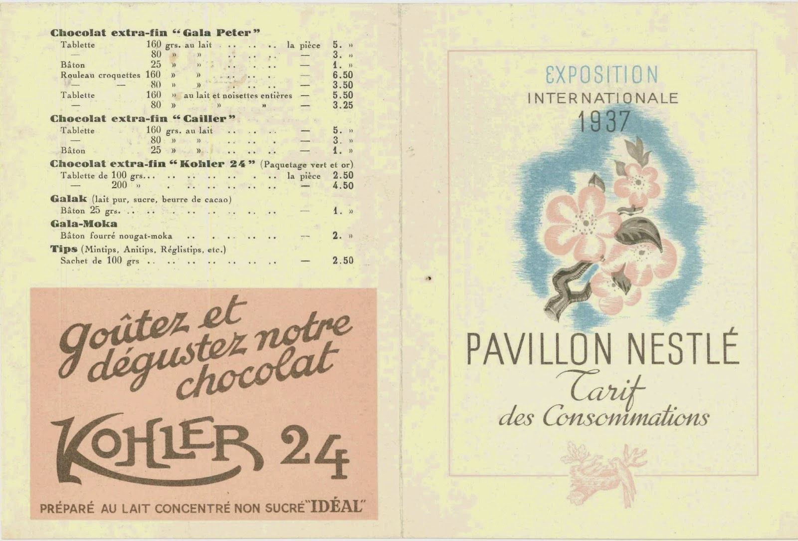 Th pamphlet for the Pavillon Nestle's 1937 exposition..