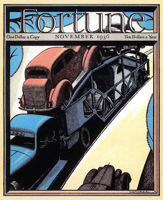 an Ernest Hamlin Baker illustration for Fortune November 1936, a truck carrying cars