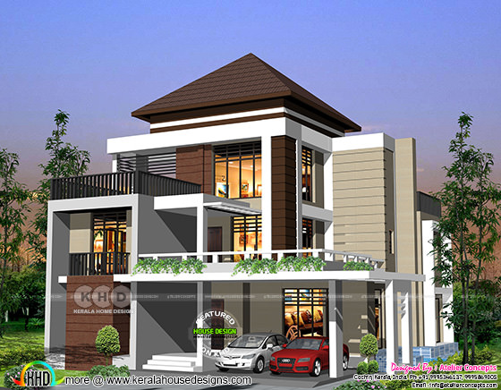 4 BHK Modern house plan 3300 square feet