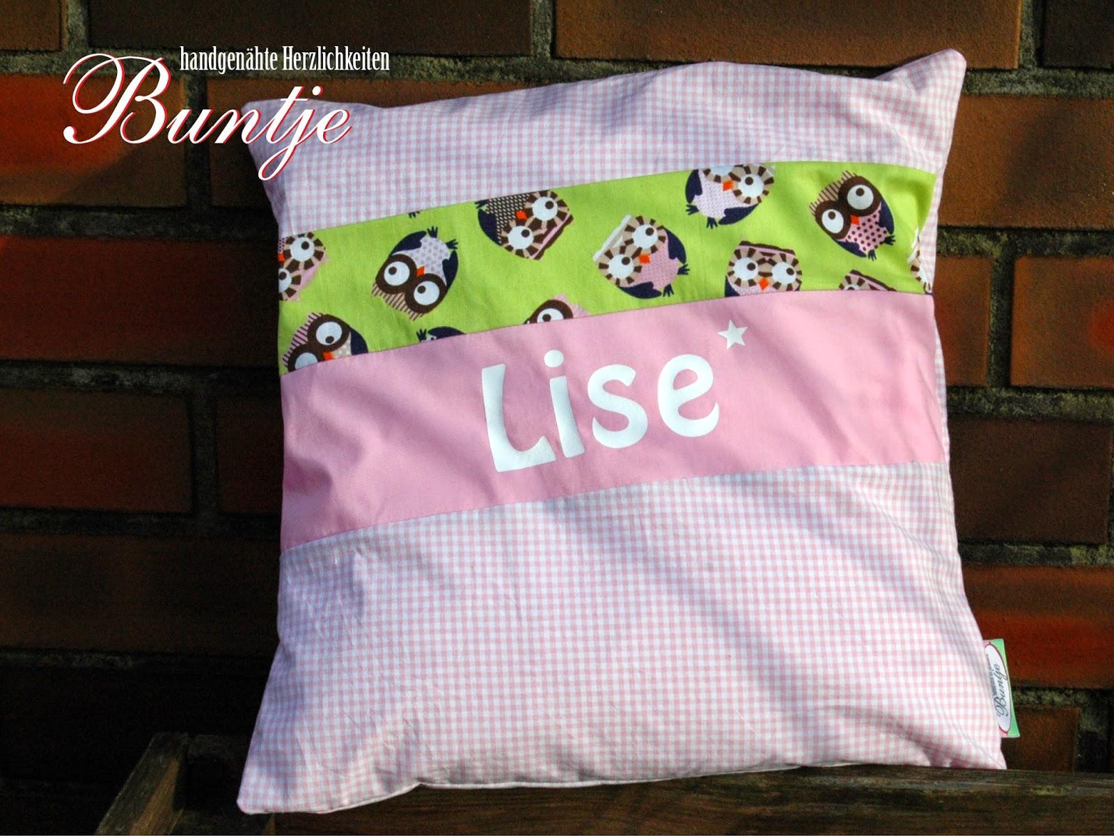 Namenskissen Kissen Name Geschenk Geburt Taufe Geburtstag Mädchen rosa grün Eulen Lise Buntje nähen handmade