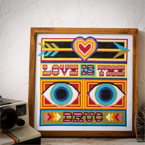 Love Is The Drug - Framed Needlepoint Design by Emily Peacock