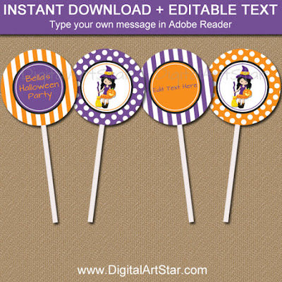 halloween witch cupcake toppers with editable text