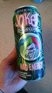 Soda can labeled Mad Energy with cartoon of the Joker