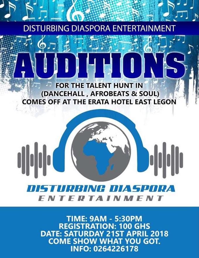 Disturbing Diaspora Entertainment holds audition for artists on April 21