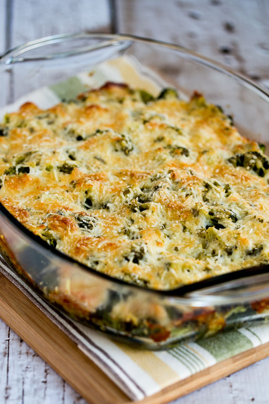 Broccoli Gratin with Swiss and Parmesan from Kalyn's Kitchen featured in The BEST Low-Carb and Gluten-Free Thanksgiving Side Dishes on KalynsKitchen.com