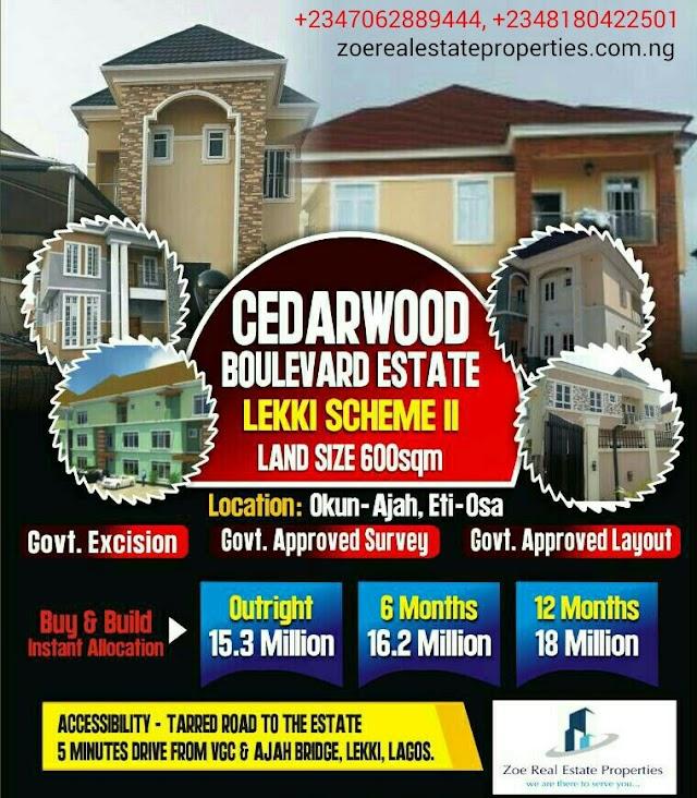 CEDARWOOD BOULEVARD, AJAH, LAGOS(PROMO INSIDE)