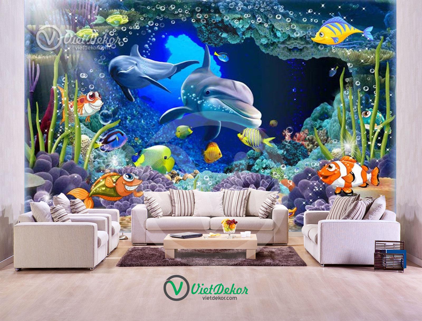 Tranh 3d dán tường phong cảnh dưới đáy biển cá heo