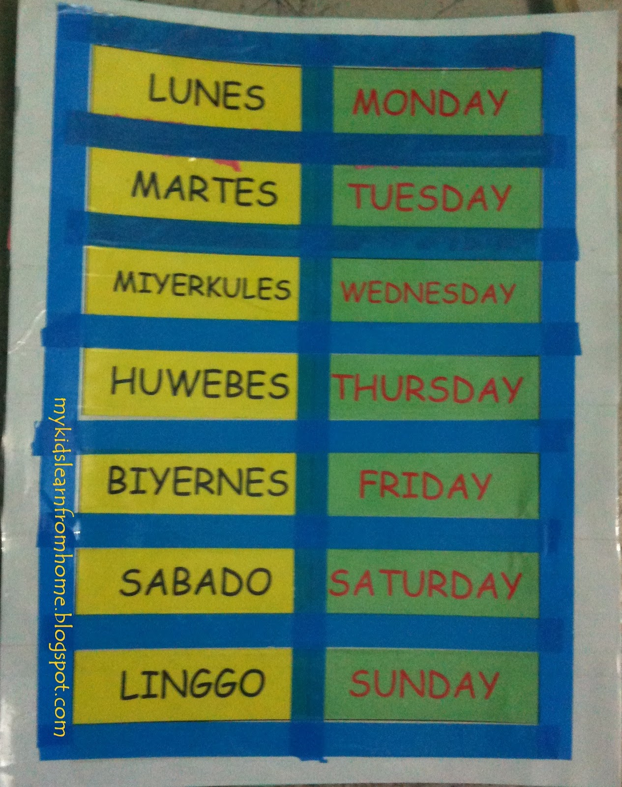 My Kids Learn From Home K2 Filipino Ang Mga Araw Ng Linggo Days Of The Week Exercise