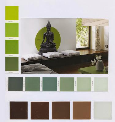 accords couleurs, vert, zen, peinture, mur, teintes, nuancier