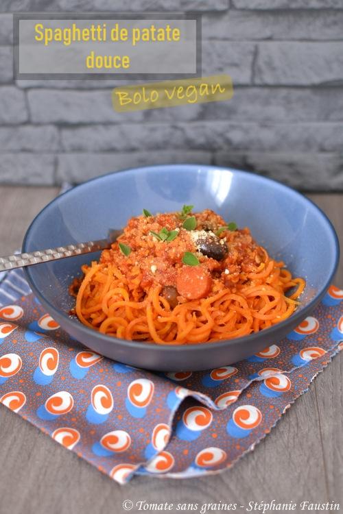 Spaghettis de patate douce à la bologanise végétale / vegan