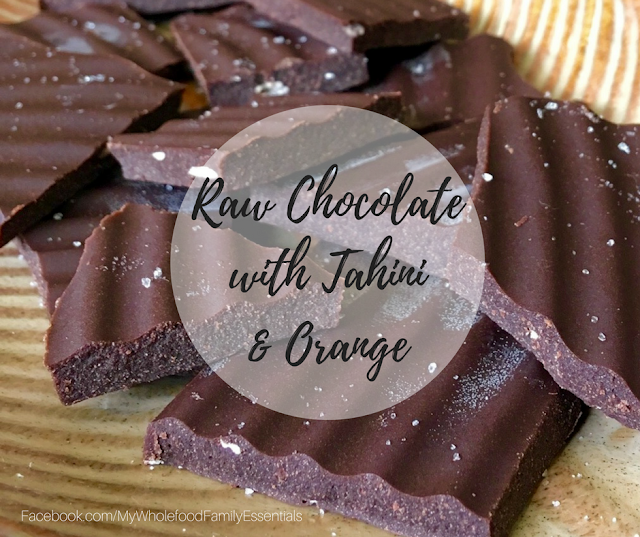 Raw chocolate with tahini and wild orange essential oil - www.mywholefoodfamily.com